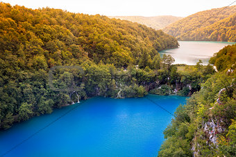 Waterfalls and lake in Plitvice Lakes National Park, Croatia