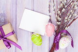 Greeting card, pussy willow and easter eggs