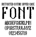 Handwritten black distorted gothic upper case alphabet with numbers