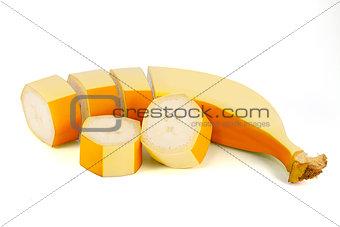 Sliced banana isolated on white background
