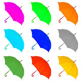 multicolored umbrella on a white background