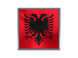 Square metal button with flag of albania