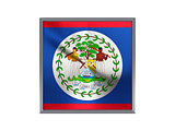 Square metal button with flag of belize