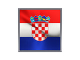 Square metal button with flag of croatia
