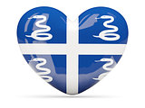 Heart shaped icon with flag of martinique