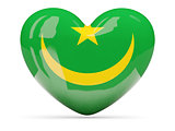 Heart shaped icon with flag of mauritania