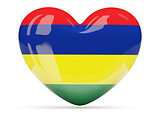 Heart shaped icon with flag of mauritius
