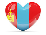 Heart shaped icon with flag of mongolia