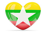 Heart shaped icon with flag of myanmar
