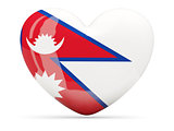 Heart shaped icon with flag of nepal