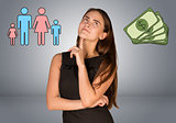 Beautiful business woman with money and family