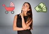 Business woman with money and buggy