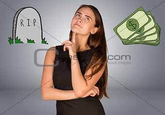 Beautiful business woman thinking over money and RIP