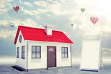 White house with red roof and sidewalk sign. Background sun shines brightly, flying hot air balloon