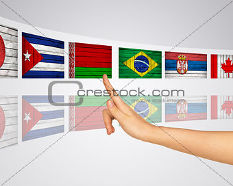 Flags of several countries. Virtual screens