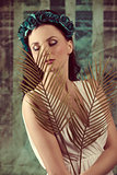 spring woman with palm leafs