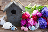 easter eggs with birdcage