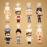Chefs with Icons Set