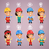 Builders with Icons Set