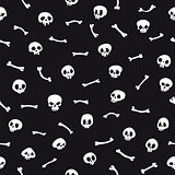 White Cartoon Skulls on Black Background Seamless Pattern