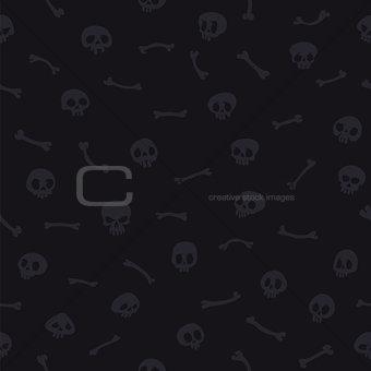 Gray Cartoon Skulls on Black Background Seamless Pattern
