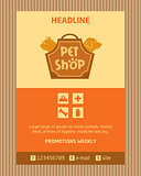 Logo for pet shop. Brochure, Flyer design vector template in A4 size. Advertise store for pets. Icons for pet shop.