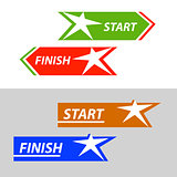 Start and finish, vector sticker, button An image with a star similar to the human figure
