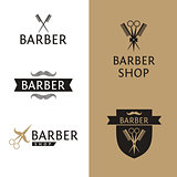 Vector heraldic logo for a hairdressing salon. Set logo for barber shop