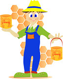 Beekeeper showing honey pot