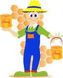 Beekeeper showing honey pot