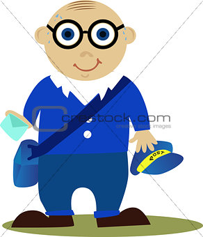 Postman in blue uniform with letter.