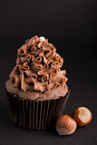 Chocolate cupcake with hazelnut on dark background