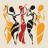 African dancers silhouette set.