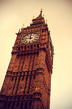 Big Ben in London, United Kingdom, with a retro effect