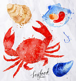 Seafood watercolor crab, clams, mussels, oysters, shell