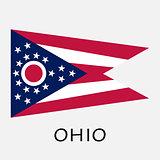 Ohio state flag of America, isolated on white background.