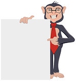 Monkey Businessman showing sheet of paper