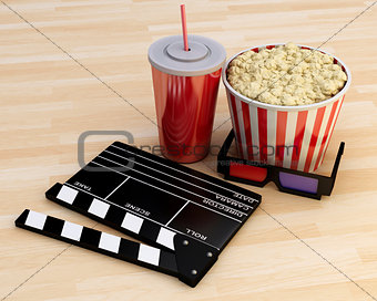 3d Cinema clapper board, popcorn and drink.