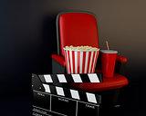 3d Cinema clapper board, popcorn and drink.