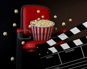 3d Cinema clapper board and popcorn
