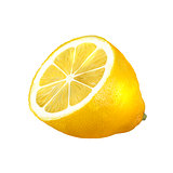 half of lemon isolated on a white background
