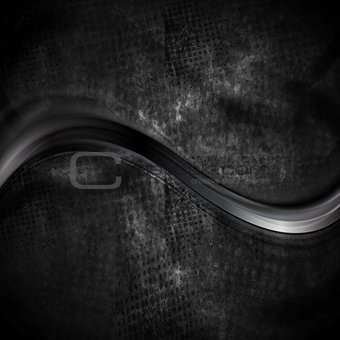 Black smooth wave on dark grunge background