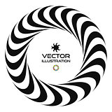 Black and white vector illustration of 3d ring. Vector template.
