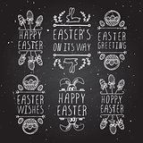 Hand-sketched easter typographic elements