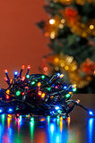colored Christmas decoration with a  out of focus background