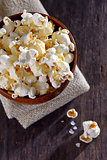 Pop corn in a bowl