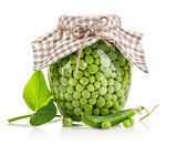 Canned green peas in glass jar