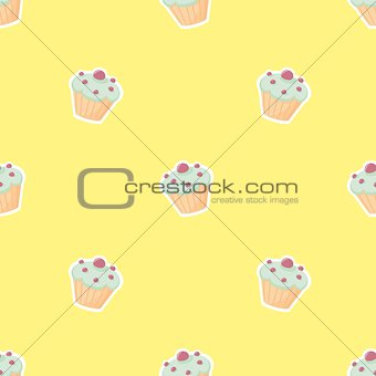 Tile vector pattern with cupcake on yellow background