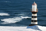 Lighthouse on coast of Pacific Ocean. Petropavlovsk-Kamchatsky