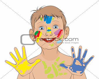 Boy soiled in a paint